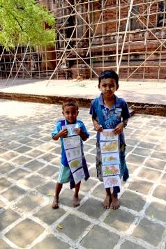 Burmese Kids Selling Post Cards Bagan Myanmar